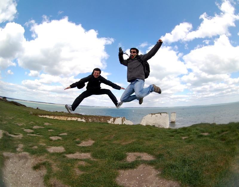 Saltando en las Old Harry Rocks