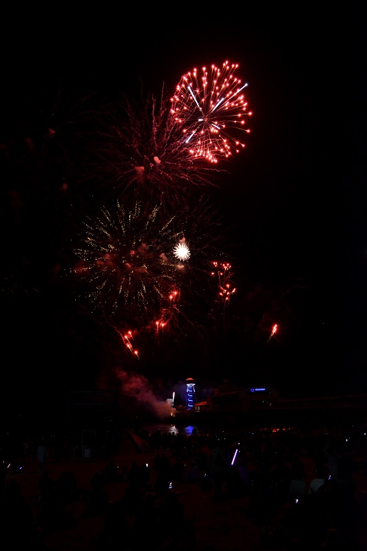 Fuegos artificiales en el cielo de Bournemouth